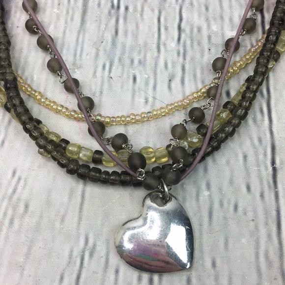 AEO Silver Heart Tan multi strand necklace